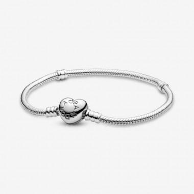 Pandora Bracciale Moments con maglia snake e chiusura a cuore