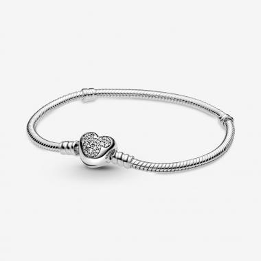 Pandora Disney, Bracciale Pandora Moments con maglia snake, chiusura a cuore e Mickey Mouse