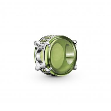 Pandora  Charm con pietra cabochon ovale verde